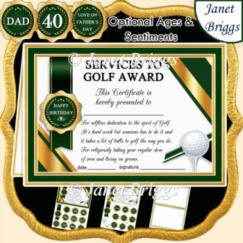 GOLF Humorous A5 Certificate & Ages Card Kit