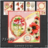 Vintage Shabby Flower Card Kit Pink 1443
