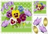 pretty coloured pansies with purple butterflies & lace 8x8