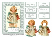 Victorian Girl Puppy Doll & Lace 7 x 5 Card Sheet With Decoupage