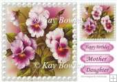 pretty painted pink pansies with pearls 8x8