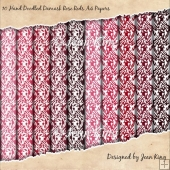 10 Hand Doodled Damask Rose Reds A4 Papers