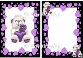 lovely white bear with purple heart and rose in frame A5 Insert