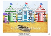 Three Lovely Beach Huts A4 Seaside Scene (1)