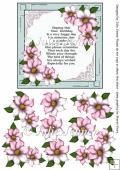 Green and pink floral frame A4e sheet with floral decoupage