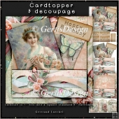 Vintage Lady Card Topper peach