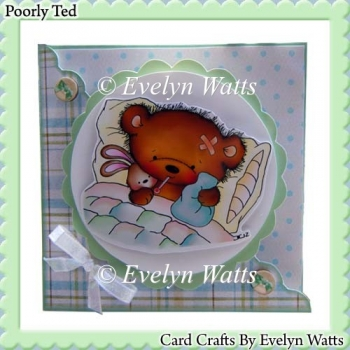 Cute Poorly Ted Get Well Soon Shaped Card Kit