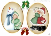 two lovely christmas toppers folklore snowman/santa