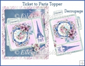 Ticket to Paris Card Topper with Decoupage