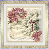 Birds winter home 7x7 card with decoupage