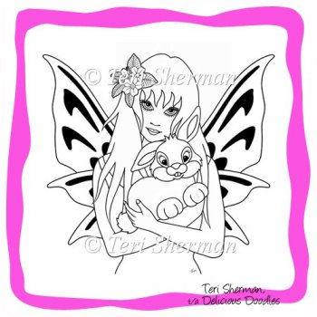 easter bunny pictures to print and color. Easter Bunny Fairy Digital