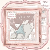 POLAR BEAR & RABBITS 7.5 Christmas Decoupage & Insert Kit