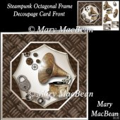 Steampunk Octagonal Frame Decoupage Card Front