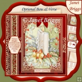 CHRISTMAS CANDLE & HOLLY 7.8 Quick Christmas Card & Insert
