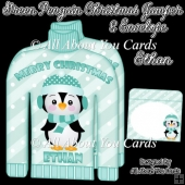 Merry Christmas ETHAN Green Penguin Christmas Jumper Card