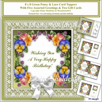 8 x 8 Green Pansy & Lace Card Toppers & Gift Cards