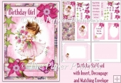 Birthday Girl Card with 10 tags, envelope and inserts