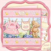 Baby Girl Washing Line 7.5 Decoupage Mini Kit
