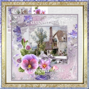 Lilac pansies card with decoupage