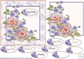 Purple flowers and soft roses 6 inch topper 102