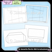 Angled Tri Shutter Card & Envelope Template Commercial Use Ok