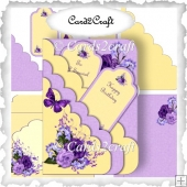 Purple roses and butterly tag card set