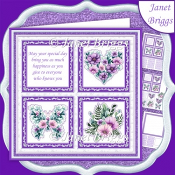 LILAC FLORAL SQUARES 7.5 Quick Layer Card & Insert Kit