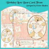 Birthday Love Bear Card Front with Decoupage