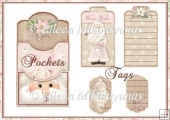 Warm Wishes Double Pocket Library Card and Tags Set