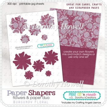 Paper Shapers Flowers - Burgundy Floral