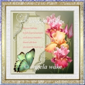 Iris and butterfly 7x7 card with decoupage, verse and sentiment