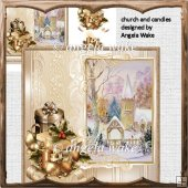 Church and candles card with decoupage