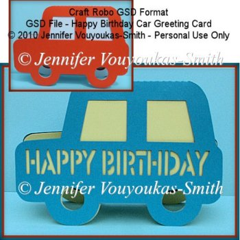 ... Cutting Machine Files :: GSD File - Happy Birthday Car Greeting Card