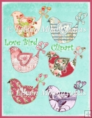 Cottage Chic LOVE BIRDS COMMERCIAL USE Clipart