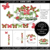 Holiday Butterfly Cup Layered Card Set