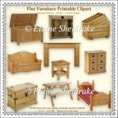 Pine Furniture - Printable Clipart - Set One -Designers Resource