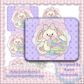 Ruby Easter Bunny 1 Scallop Shaped Pyramage Topper