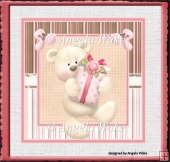 Teddy bear with a gift 7x7