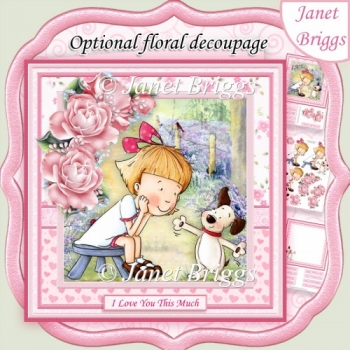 LOVE YOU THIS MUCH 8x8 Decoupage & Insert Kit Optional Florals