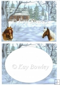 Horses with cottage in snow scene A5 insert