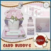 Pot of Pink Roses Shaped Easel Card Kit