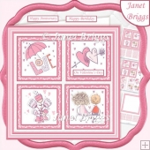 PINK LOVE SQUARES 7.5 Quick Layer Card & Insert Kit