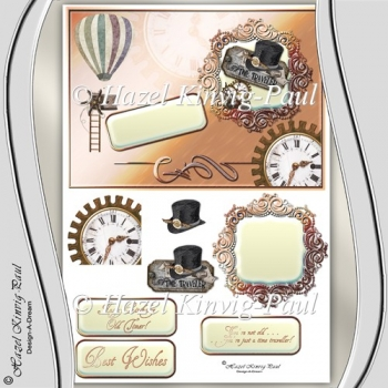Time Traveller Decoupage Card Front/Topper