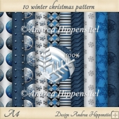 10 x A4 winter christmas backing paper