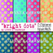 BRIGHT DOTS - 8 digital background papers 12 inch x 12inch CUOK