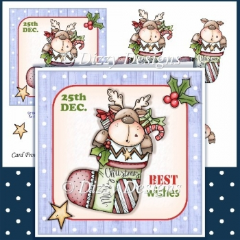 Reindeer Stocking Card Front & Decoupage