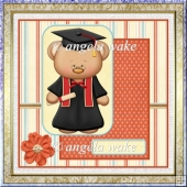 Girl graduation bear card with decoupage