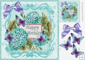 Pretty turq hydrangeas with butterflies for BIRTHDAY 8x8