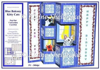 Blue Balcony Kitty Cats - Pop Out Concertina Card Kit