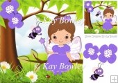 cute little faerie in lilac sitting on a branch with bee 8x8